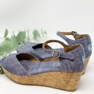 Toms Denim Espadrilles Wedges Size 9